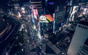 Картинка город, ночные огни, япония, небоскребы