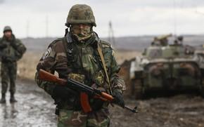 Картинка gun, soldier, weapon, eyes, man, army, rifle, tank, armored, gloves, helmet, uniform, seifuku, coat of …