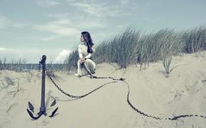 Картинка песок, девушка, якорь