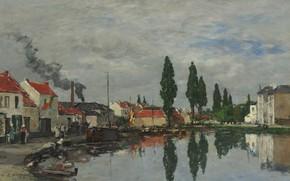 Картинка деревья, пейзаж, отражение, дома, картина, канал, Эжен Буден, Eugene Boudin, Bruxelles. The Channel of Louvain