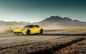 Картинка дизайн, пустыня, желтая, классная, Ferrari F12