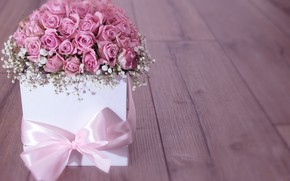 Картинка коробка, подарок, розы, букет, лента, flower, wood, pink, roses