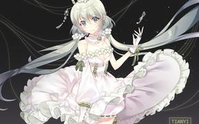 Картинка платье, девочка, Вокалоид, тёмный фон