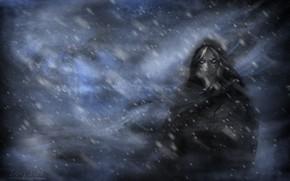 Обои snow, горы, арт, art, woman, mountines, eyes, girl, девушка, mystic, синий, fantasy, свет, плащ, снег, ...