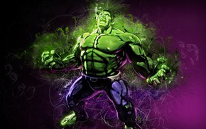 Картинка green, fantasy, Hulk, mood, Marvel, muscles, comics, digital art, artwork, superhero, strength, fantasy art, rage, …