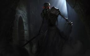 Картинка ночь, меч, арт, скелет, The Elder Scrolls Legends