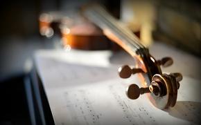 Обои музыка, скрипка, ноты