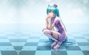 Картинка аниме, арт, Hatsune Miku, Vocaloid, вокалоид, art, Мику, by Wokada