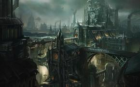 Картинка трубы, город, здания, смог, Lantern City