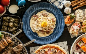 Картинка зелень, еда, яйца, пицца, бекон, лапша, лаваш, разности