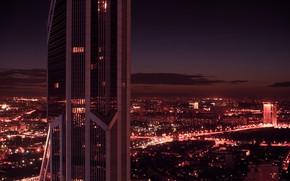 Картинка evening, beautiful, architecture, outdoor, dark, light, orange, business, building, Moscow, view, horizon, clouds, skyscraper, sky, …