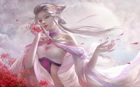 Обои цветы, фэнтези, xzfshao, арт, 大葱君, девушка
