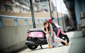 Картинка девушка, азиатка, мотороллер