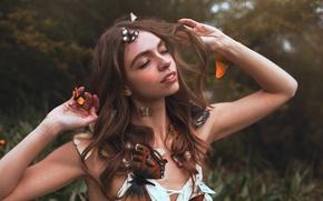 Картинка девушка, бабочки, Aleah Michele, Garden dreams