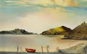 Обои сюрреализм, Порт-Льигат на Закате, Salvador Dali, картина, Сальвадор Дали