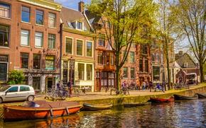 Обои весна, река, boat, buildings, canal, лодки, Амстердам, Netherlands, old, Amsterdam, spring