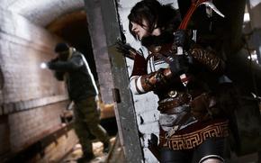 Картинка arrow, Lara Croft, ice axe, cosplay, gun, brunette, rifle, girl, woman, weapon, Tomb Raider