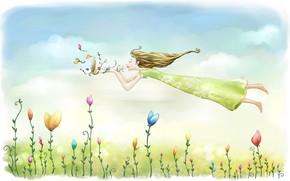 Обои небо, девушка, полет, цветы, настроение, рисунок, весна, луг, арт, картинка, эйфория, легкие облака