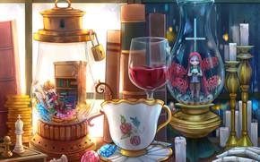 Картинка стол, аниме, колбы