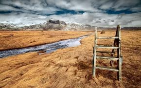 Картинка поле, горы, река, Stairway to heaven
