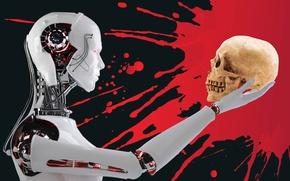 Обои череп, фон, робот, кровь