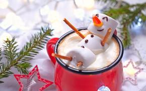 Картинка украшения, елка, Новый Год, Рождество, чашка, снеговик, Christmas, cup, Merry Christmas, Xmas, какао, cocoa, snowman, …