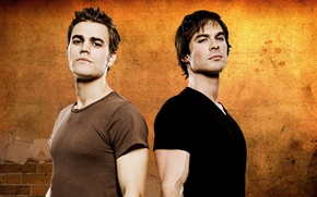 Картинка The Vampire Diaries, Ian Somerhalder, man, vampire, Paul Wesley, Damon Salvatore, Stefan Salvatore, tv series, …