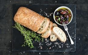 Обои Italian, olive, oil, еда, хлеб, bread, ciabatta, оливки