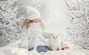 Картинка зима, кошка, снег, девочка, друзья