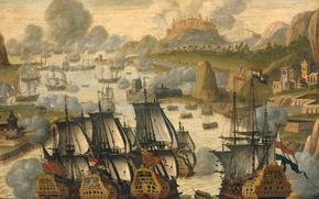 Картинка дерево, корабль, масло, картина, баталия, Морской Бой в Заливе Виго