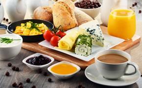 Картинка кофе, еда, завтрак, сыр, сок, хлеб, джем, хлопья, йогурт, разделочная доска