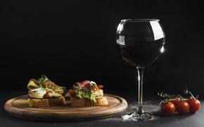 Картинка хлеб, красное, вино, бутерброды, wine, бокал, red, разделочная доска