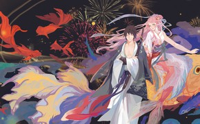 Картинка Naruto, katana, mermaid, Uchiha Sasuke, Haruno Sakura, kimono, by 半透明体, japaese