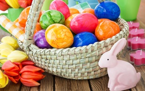 Обои весна, корзина, decoration, colorful, Easter, Пасха, тюльпаны, tulips, happy, яйца крашеные, flowers, spring, eggs, цветы