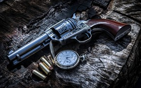 Обои Gun, Bullets, Weapon, Clock