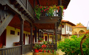 Картинка Цветы, Дом, House, Flowers, Двор, Горшки