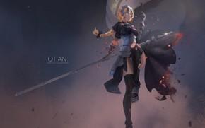 Картинка девушка, оружие, аниме, арт, кулон, fate, jeanne d'arc, lm520lm520