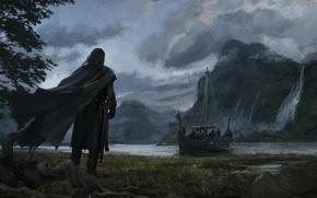 Обои Аndrey Bakulin, скалы, река, озеро, ладья, судно, берег, воин, водопад, горы, арт, плащ, лодка