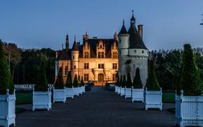 Картинка деревья, дизайн, замок, газон, Франция, вечер, сад, Chateau de Chenonceau