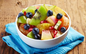 Картинка киви, черника, фрукты, персик, гранат, салат