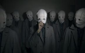Обои фон, люди, маски
