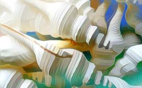 Обои линии, абстракция, краски, раковина, ракушка