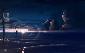 Картинка море, небо, птицы, боке, линии электропередач, Y_Y
