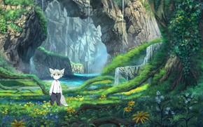 Картинка пейзаж, природа, аниме, малыш