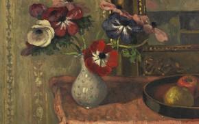 Картинка картина, Натюрморт, Элберт Андре, Albert Andre, Ваза с Цветами и Фруктами на Столе