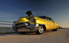 Картинка Coupe, Yellow, 1956, Drag race, Cadilac Deville