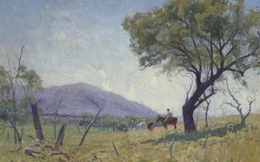 Картинка пейзаж, дерево, гора, картина, Elioth Gruner, Долина Мингоола, Элиот Грюнер