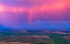 Картинка облака, холмы, поля, радуга, горизонт, США, штат Вашингтон
