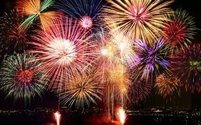 Картинка салют, colorful, Новый Год, фейерверк, new year, happy, night, fireworks, 2017