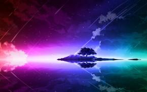 Картинка пейзаж, ночь, озеро, отражение, дерево